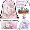 10 Paquete Lindo Unicornio Mochila con cordón/Maquillaje/PU Monedero Bolsos de Embrague/Collar de Cadena de aleación/Unicornios para el Cabello para niñas (Style 4)