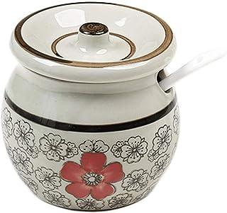 WZHZJ Récipient à épices en Porcelaine à Condiment avec couvercles - cuillère de Service en céramique,