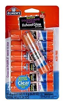 Elmer s Disappearing Purple School Glue Sticks with Bonus Clear Glue Stick| Washable Glue Sticks for Kids | School Supplies | Scrapbooking Supplies | Vision Board Supplies 7 Count