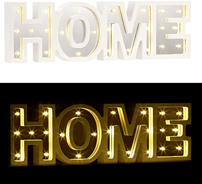 Lunartec Wanddeko  LED-Schriftzug Home aus Holz & Spiegeln mit Timer & Batteriebetrieb (Dekoleuchte)