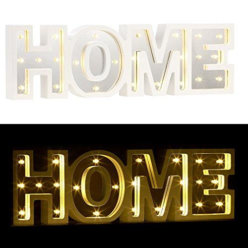 Lunartec Wanddeko: LED-Schriftzug Home aus Holz & Spiegeln mit Timer & Batteriebetrieb (Dekoleuchte)