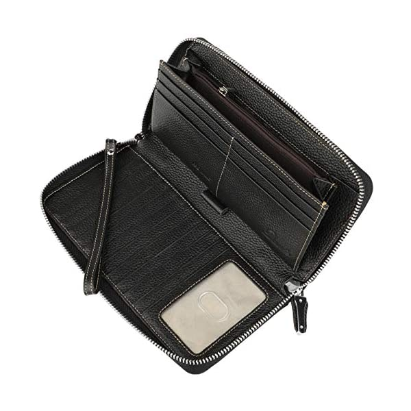 Lavemi Women's RFID Blocking Leather Zip Around Wallet Large Phone Holder Clutch Travel Purse Wristlet 3
