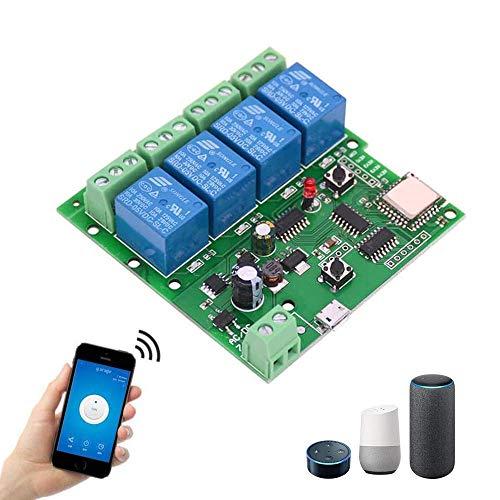 Module de Relais Wifi Sonoff, 4 Canaux DC 5-32v Wifi Avec Télécommande Compatible Avec la Commande Vocale Alexa pour la Maison Intelligente, Appliqué au Contrôle D
