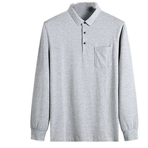 N\P La primavera y el otoño de negocios de los hombres de la camisa delgada de algodón de manga larga de color sólido casual de los hombres de la solapa de la camiseta de grasa