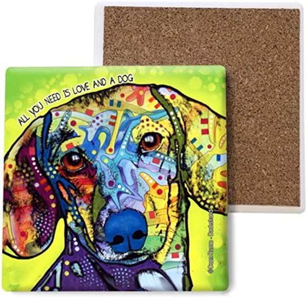 SJT ENTERPRISES INC Dachshund All You Need Is Love And A Dog Absorbent Stone Coasters 4 Inch 4 Pack Features The Artwork Of Dean Russo SJT07015