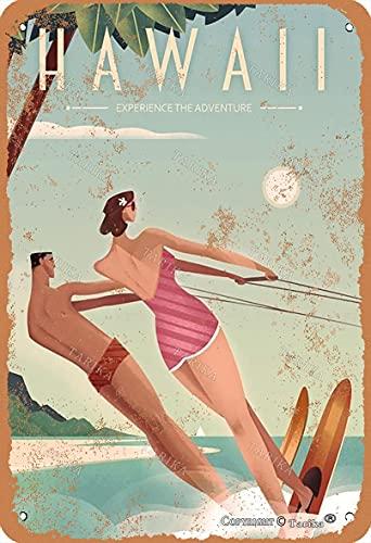 BIGYAK Hawaii Surf 20 x 30 cm Vintage Look Tin Decoración Artesanía Cartel para Hogar Cocina Baño Granja Jardín Garaje Citas Inspiradoras Decoración de Pared