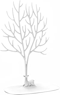 Exhibidor Soporte joyería de plástico - Sika Deer Tree Jewellery Holder Organizador joyería para Anillos Collar Regalos cumpleaños Soporte avidad Rack (Blanco, L)