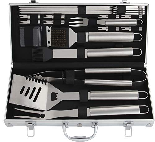 Romanticist 18 PC Kit Barbecue in Acciaio Inox - Kit Barbecue Premium per Uomo Regalo di Compleanno di papà - Perfetti per Barbecue Accessori Utensili da Barbecue