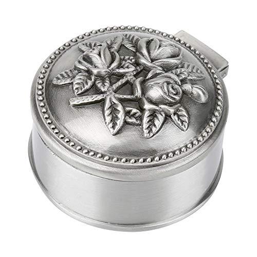 HERCHR Joyero Vintage, Caja de Anillo de Rosa Tallada, Caja de baratija pequeña, Adornos, Pendiente/Collar, Caja de Regalo para niñas, Mujeres, cumpleaños