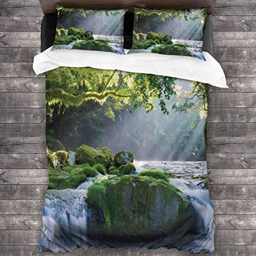 Juego de Ropa de Cama-Selva Selva con Río Que Fluye Naturaleza Salvaje Escena Al Aire Libre Bosque Verde,Juego de Funda Nórdica y 2 Funda de Almohada(Double 200x200cm)