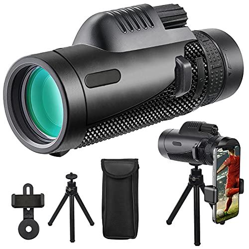 Monocular Telescope,12×50 High Powerful Monocular with Smartphone Holder&Tripod,for Wildlife Bird Watching,Hunting,Camping&Hiking