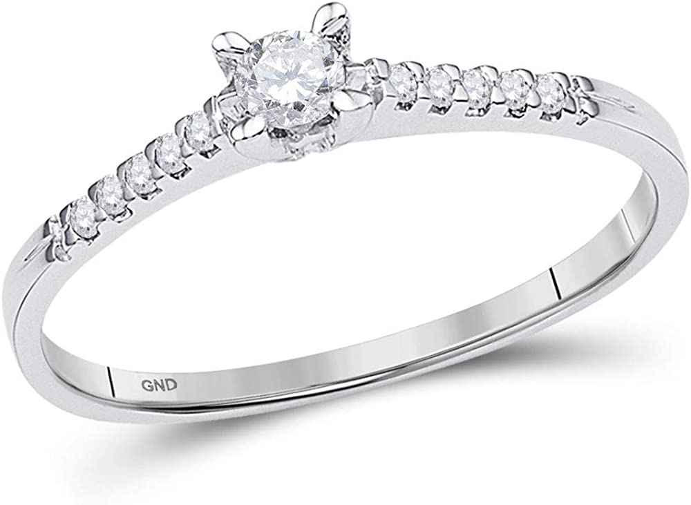 Dazzlingrock Collection 10kt White Gold Womens Round Diamond Solitaire Promise Bridal Ring 1/8 ctw
