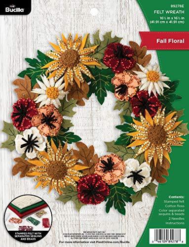 Bucilla 89278E Felt Applique Wreath, 16.5' x 16.5', Floral Fall