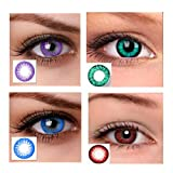 Magjons 3 Priam Green Turquoise Red purple 0 Power Monthly Contact Lens 0