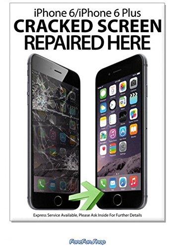 A2 Display Poster Reclame - iPhone 6 6Plus Gebarsten scherm hier gerepareerd