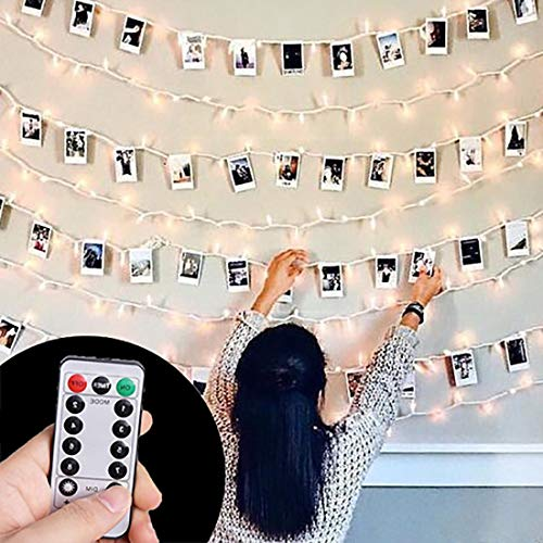 ⭐HAYATA [Remote & Timer] 40 LED Wooden Photo Clip Light String Lights - 23ft Fairy Battery Operated Hanging Picture Frame Lighting for Party Wedding Dorm Bedroom Birthday Christmas Decorations