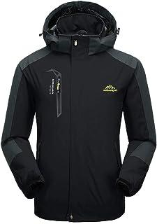 BIYLACLESEN Mens Windproof Jacket Outdoor Lightweight Softshell Hiking Rain Jackets - - US 2XL