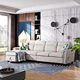 Walsunny Convertible Sectional Sofa Couch with Reversible Chaise, L-Shaped Couch 4-seat Sofas with Modern Chenille Fabric for Living Room(Beige)