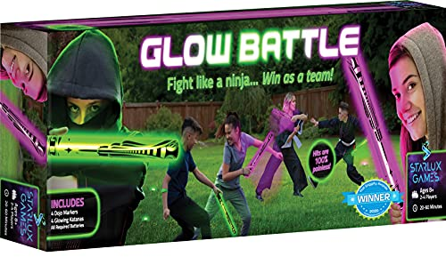 Starlux Games Glow Battle: A Ninja Game with Glow-in-The-Dark Foam Swords - an Indoor & Outdoor Activity for Boys, Girls and Teens Ages 8+