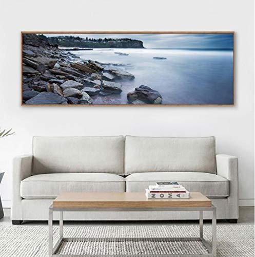 WADPJ Nordic zonsondergang avondschemering rotsen zee decor schilderij bed tekening wandafbeeldingen canvas 50x150cmx1 stuks geen lijst
