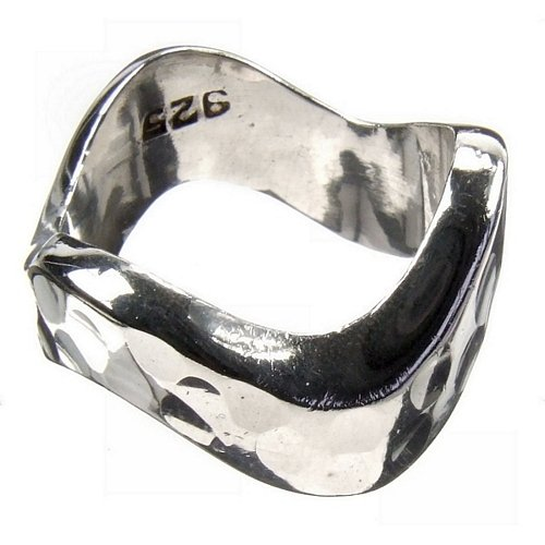 Beaten Wave 925 Silver Ring Size M
