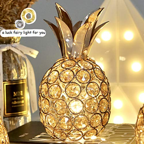 SmilingTown Pineapple Table Centerpiece Decor Handmade Crystal Hollow Fruit Candle Holder Ornament Decor Home Party Camping Wedding Festival Bar Decor Gold (Pineapple)