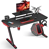 MOTPK Gaming Desk 40 inch Z Shaped Home Office PC Computer Desk Table Carbon Coated with Monitor Stand Controller Stand Cup Holder Headphone Hook, Black
