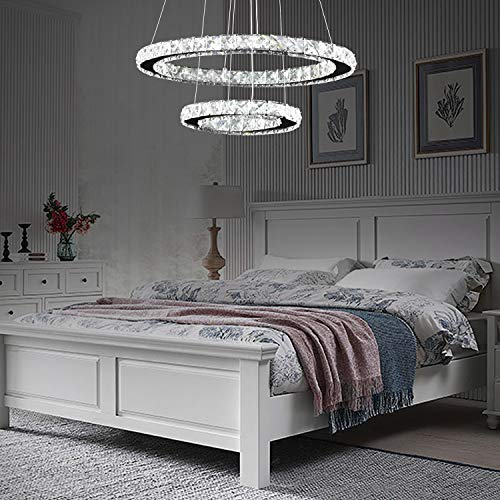 "Arxeel Modern Crystal Chandelier, Contemporary Led Ceiling Lights Fixtures Pendant Lighting for Living Room Bedroom Restaurant Porch Dining Room (2 Rings, Dia 19.6""+11.8"")"