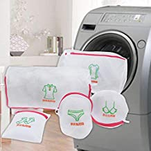 5 Pieces/Sets of Double-Layer Mesh Laundry Bag, Thickened Zipper-Type Clothing Bra Underwear Protector Laundry Bag for Was...