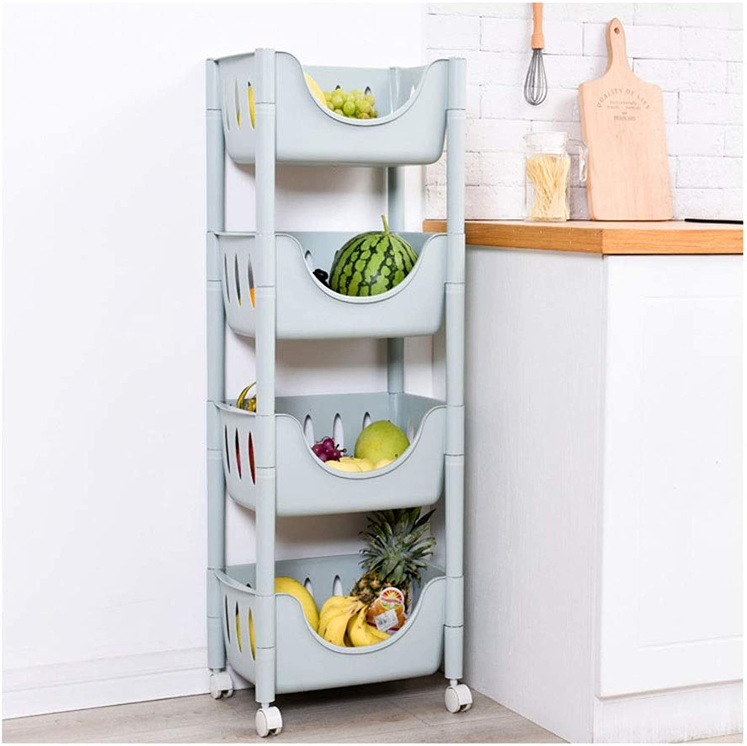 Kitchen Storage Rack Kitchen Living Room Bathroom Rack Small Multi-color Plastic Simple Storage Shelf with Removable Pulley Organisation (color   D, Size   Four-Tier)