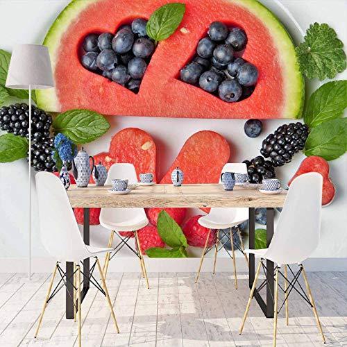 Pbbzl rode watermeloen-zwarte bessen-marine-blauw-druk foto-schoon weefsel-wanddecoratie keuken achtergrond behang pruimen-3D 400 x 280 cm.