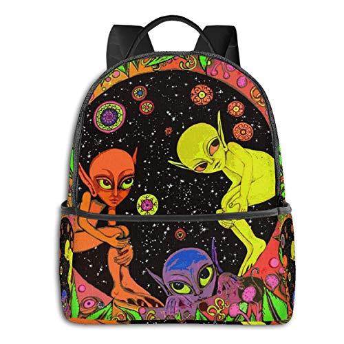Zaino da uomo e da donna, in tela spessa ad alta densità, per viaggi, scuola, può contenere alcol Nero Aliens Psychedelic Trippy Art taglia unica