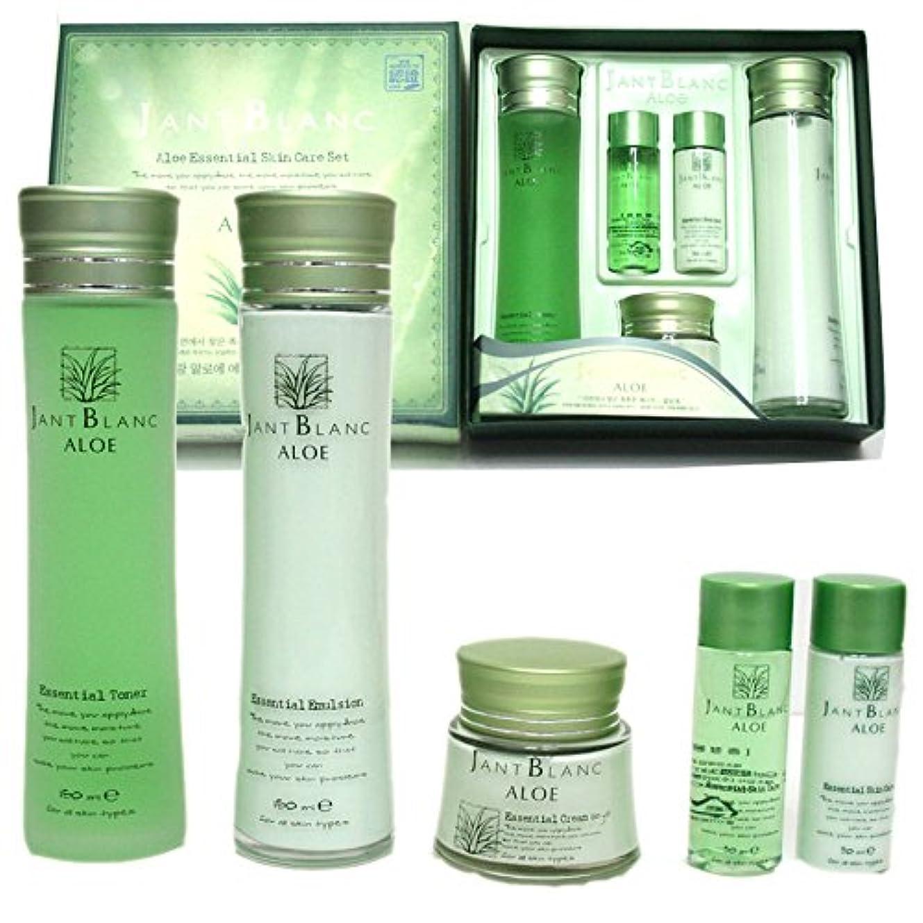 アカウントに渡って順番[Jant Blanc] アロエエッセンシャルスキンケアセット(五項目)/ Aloe Essential Skincare Set (Five-item) / トナー、エマルジョン、クリーム、旅行パック(トナー、エマルジョン) / Toner,emulsion,cream,travel Pack(Toner ,Emulsion) / 韓国化粧品 / Korean Cosmetics [並行輸入品]