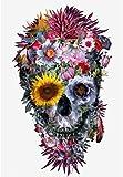 5D Diamante Dibujo Scary Skull Color Colorido Flores 5D Pintura Rhinestone Bordado Cross Stitch Pintura Accesorios Adornos Art Craft Canvas Decoración de la pared 30cmx40cm