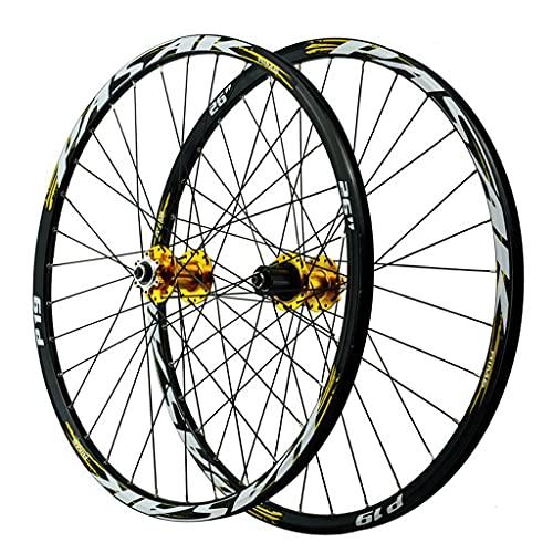 LvTu Bicicleta de Montaña Juego de Ruedas MTB 26/27,5/29 Pulgadas Aleación Freno de Disco Rodamiento Sellado Rueda de Bicicleta 7-12 Velocidades Casete 32H Llanta (Color : Gold, Size : 26 Inch)