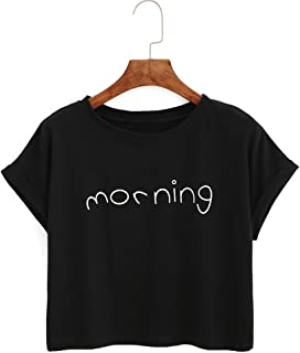 haoricu Women Blouse, 2019 Women T Shirt Fashion Morning Letter Crop Tops Short Blouse