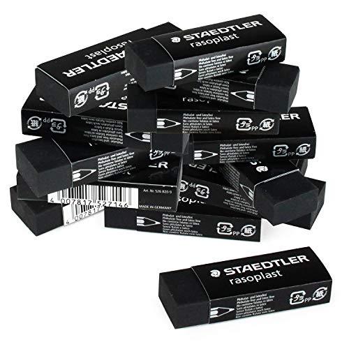 Staedtler Rasoplast 526B20-9 - Goma de borrar (20 unidades, 65 x 23 x 13 mm), color negro
