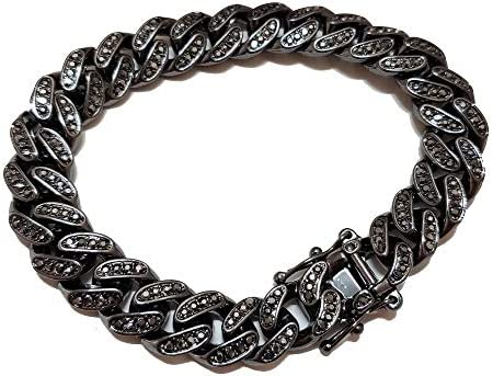 BLINGFACTORY Hip Hop Iced Black Hematite 12mm 8 5 Iced Box Lock Miami Cuban Chain Bracelet product image