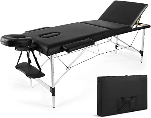 popular Aluminium Portable wholesale Massage Table Massage Bed Spa Bed84 Inch Height Adjustable Portable Tattoo SalonBed 450 LBS Capacity new arrival Carrying Case with Dust Bag (3 Folding Massage Table) outlet online sale