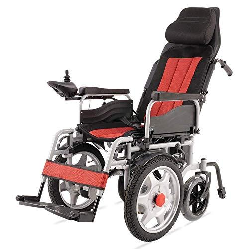 DJP Rollstuhl, Langlebig Klappbar Krafttransport Elektrischer Rollstuhl Klappbarer Mobilitätsstuhl Tragbarer Automatisierter Motorisierter Rollstuhl (Rot), Rot, Rot,Rot
