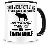 Samunshi® Ich denke an einen Wolf Tiere Tasse Kaffeetasse