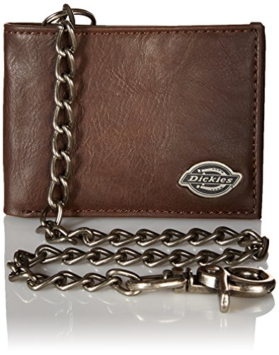 Dickies Men's Bifold Chain Wallet-High Security with ID Window and Credit Card Pockets, Rich Brown, One Size