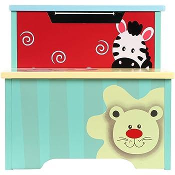 EBTOOLS Cajas de Juguetes Caja de Almacenaje Infantil de Madera 3 en 1, Baúl para Juguetes + Taburete de Almacenamiento + Escalera para Cama para Niños Infantil, Diseño de Patrón Animal: Amazon.es: Hogar