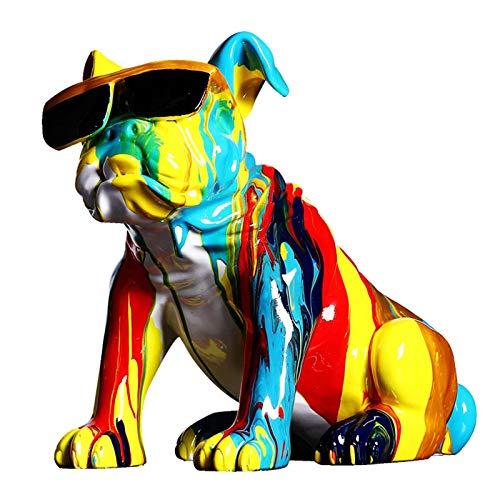 INOOY Figurine De Chien De Graffiti Coloré Cool Français Bulldog Sculpture Statue d'animaux Ornement Accueil...