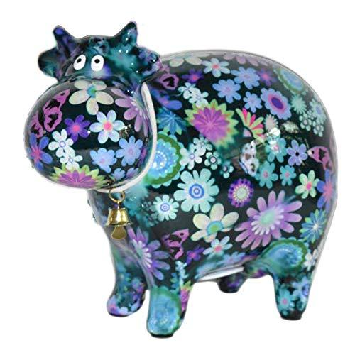 Pomme Pidou XL Spardose Kuh d. grün mit Blumen 17x28 cm Sparbüchse Geldgeschenk