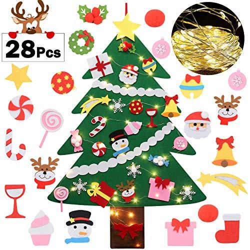 Fascigirl Árbol de Navidad de Fieltro, 39 Inch DIY Navidad Decoración los Ornamentos Desmontables 28pcs y Cadena de Luces Regalos Colgantes de Navidad de la Pared para Niños
