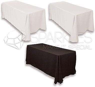 "Sparkles Make It Special 5-pcs 90"" x 156"" Inch Rectangular Polyester Cloth Fabric Linen Tablecloth - Wedding Receptio"