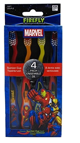 Dr. Fresh Marvel Heroes Suction Cup Toothbrushes Characters May Vary 4 ea