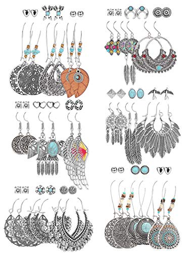 Hanpabum 36 Pairs Bohemian Drop Dangle Earrings for Women Statement Boho Earrings Set Vintage Dangle Earrings National Style