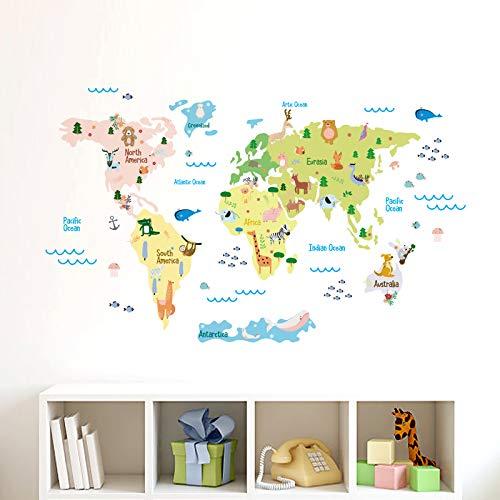 onetoze Wandtattoo Weltkarte Tiere Wanddeko Wohnzimmer Dekoration für Mädchen Jungen Schlafzimmer Wandaufkleber Kinderzimmer Deko Babyzimmer Kindergarten,118x159cm